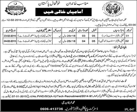 Jobs in Population Welfare Department District Layyah