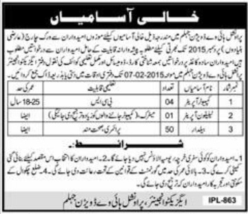 Vacancies in Provincial Highway Division Jhelum Ad Daily Express 24-1-2015