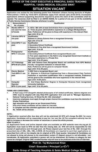 Vacant Posts -Vacancies in Saidu Teaching Hospital and Medical College Swat (Ad published in daily express Peshawar dated 17-1-2015)