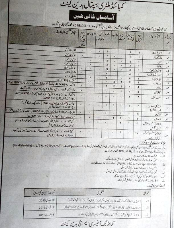 Vacancy in Combine Military Hospital (CMH) Badin Cantt Sindh
