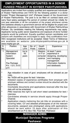 Vacancy of Management Information System Specialist in Donor Funded Project KPK