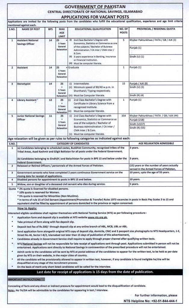 Vacant Posts in Central Directorate National Savings Islamabad Through NTS
