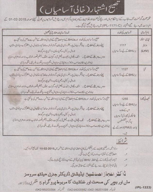 Correction in Advertisement of Jobs in Punjab Health Department Mother and Child Health Program