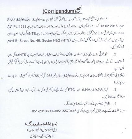 Correction in Punjab Jail Khana Jat Jobs 13-2-2015