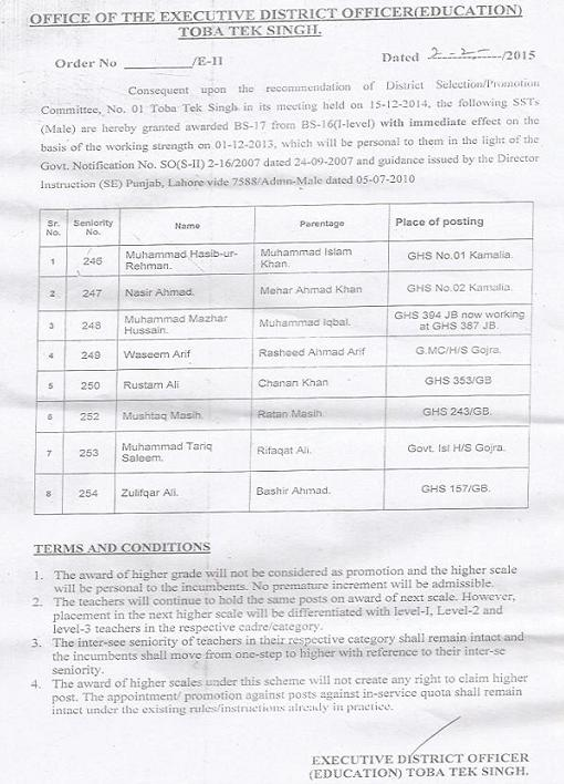 District TT Singh SST Teachers Promotion Notifications 02-02-2015 page 1/2