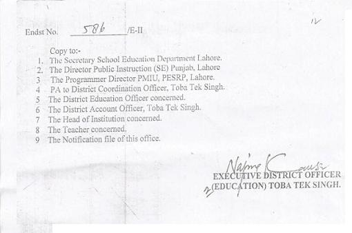 District TT Singh SST Teachers Promotion Notifications 02-02-2015 page 2/2