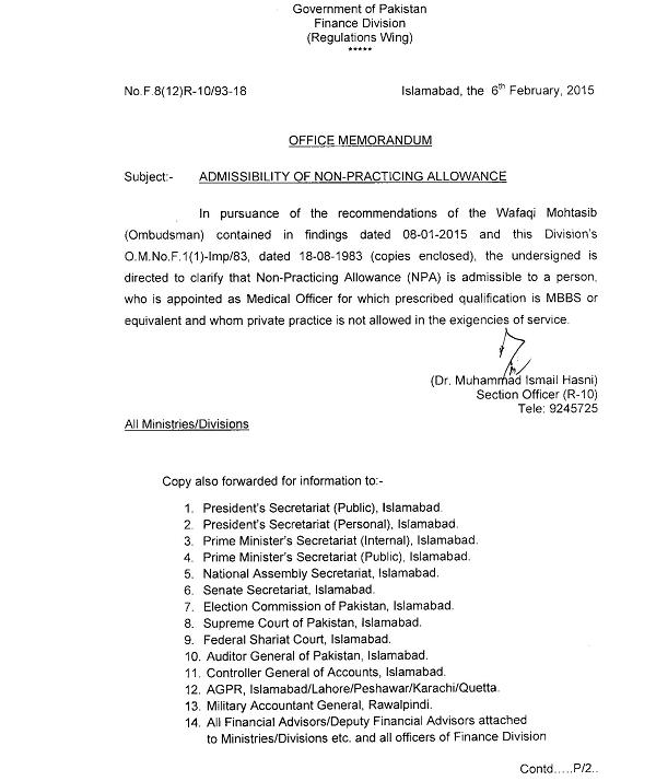 Finance Division Notification of Non-Practicing Allowance dated 6-2-2015 (Page 1)