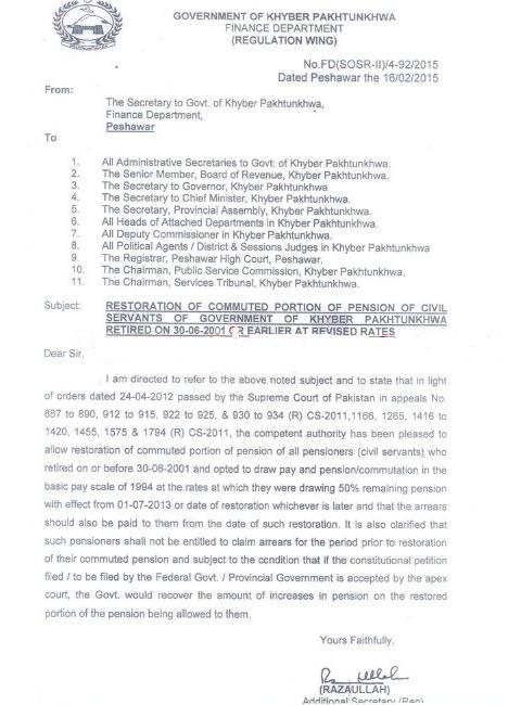 KPK Finance Department Notification of Restoration of Pension