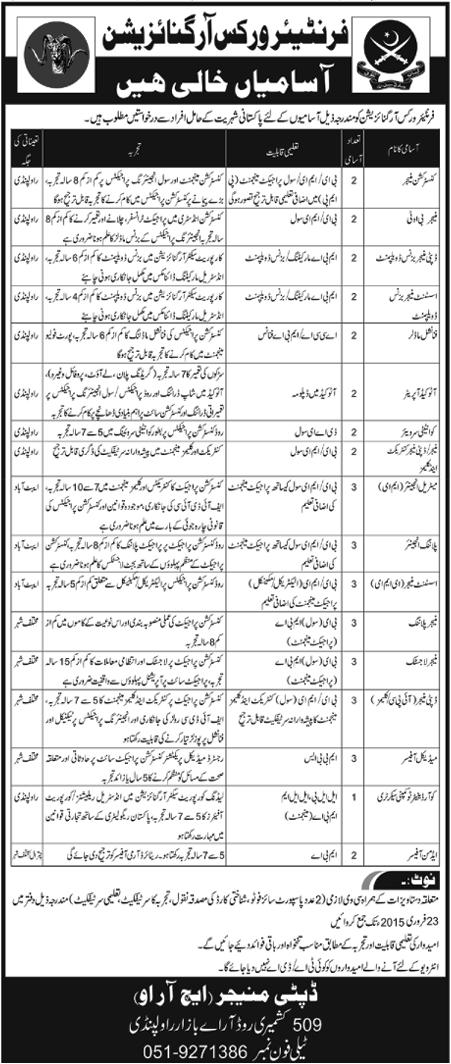 Latest Jobs in Frontier Works Organization (FWO)