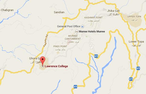 Lawrence College Murree Ghora Gali Location Map
