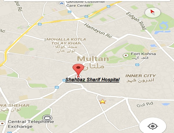 Shahbaz Sahrif General Hospital Multan - Location Map