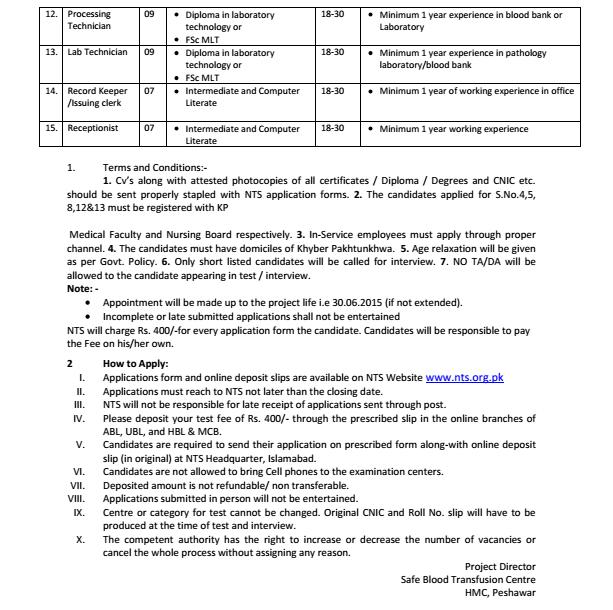 ituation Vacant in Safe Blood Transfusion, Hayatabad Medical Complex Peshawar through NTS (Page 2)