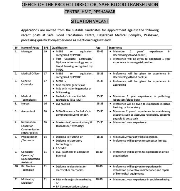 Situation Vacant in Safe Blood Transfusion, Hayatabad Medical Complex Peshawar through NTS (Page 1)