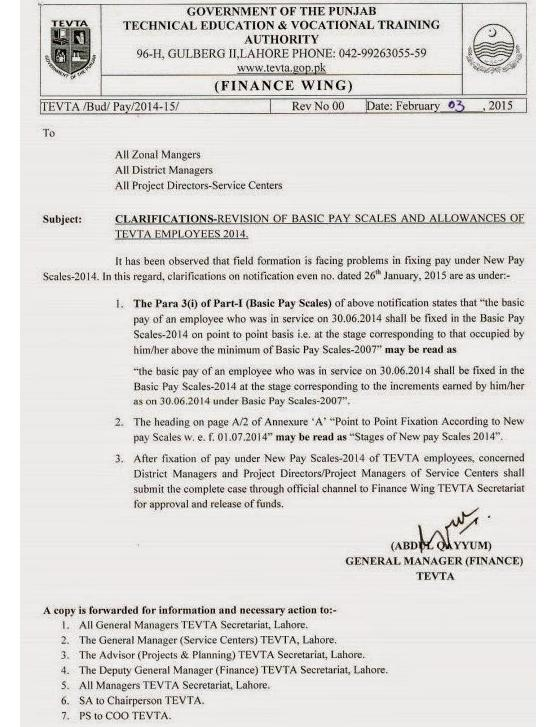 TEVTA Clarification on Revision of Basic Pay Scale 2014 and Allowances of Employees