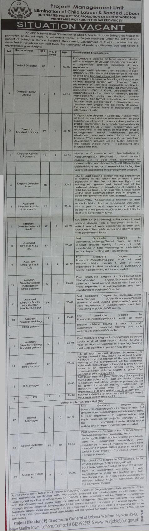 Vacancies in PMU Elimination of Child Labour and Bonded Labour in Punjab Province