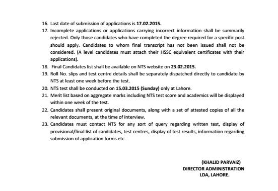 Vacancies of Directors in LDA Lahore 2