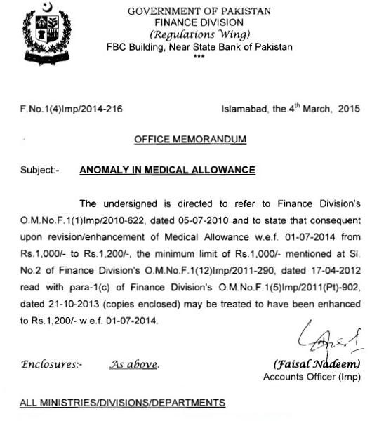 Finance Division Notification on Anomaly in Medical Allowance