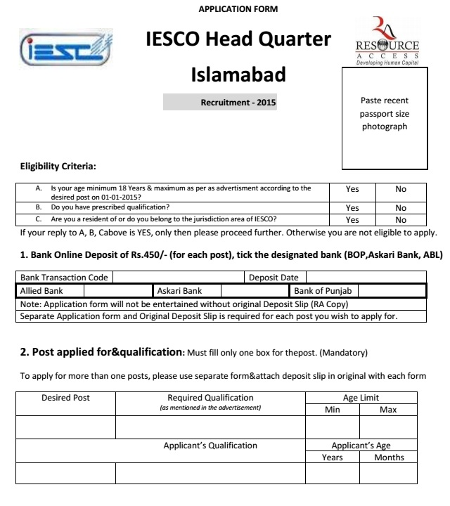 IESCO Job Application Form (Page 1)