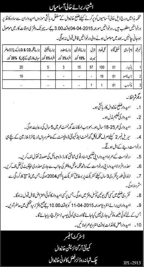 Vacancy in Khanewal Local Govt and Community Development