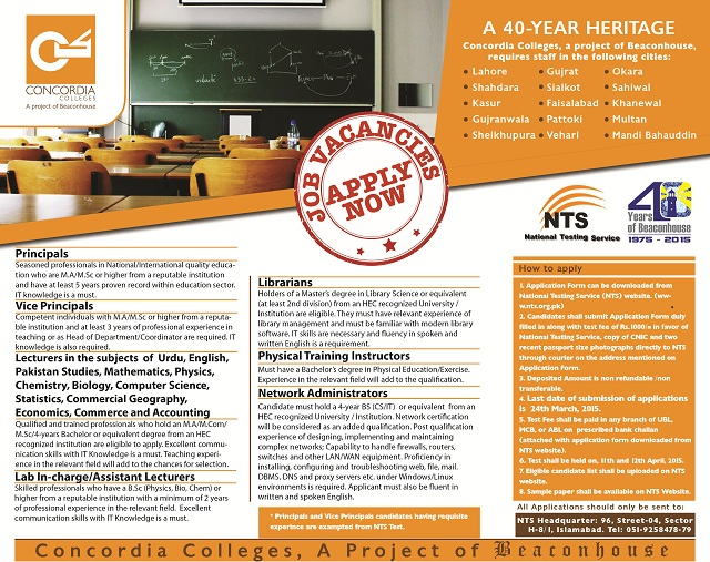 Jobs through NTS in Concordia Colleges (A Project of Beaconhouse)