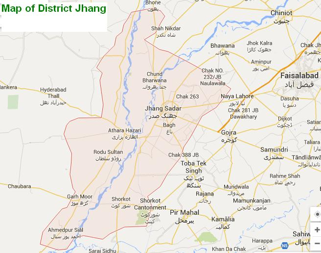 Map of District Jhang