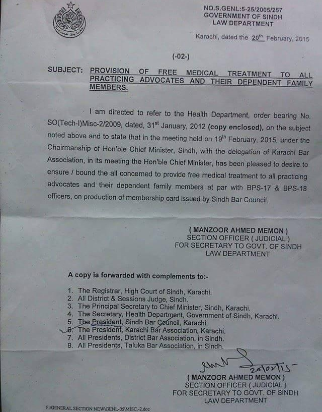 Sindh Govt Will Provide Free Medical Facility to All Advocates