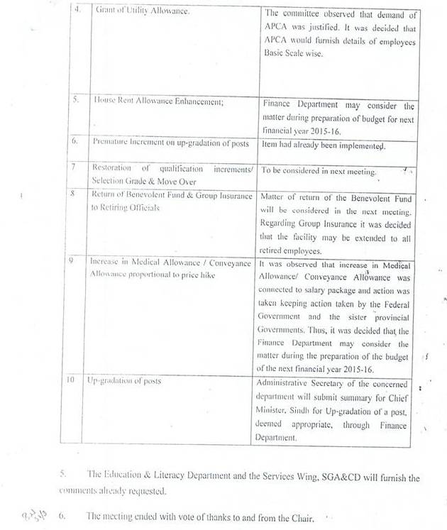 APCA Sindh Demands of Time Scales of Clerical Staff - Minutes of meeting of Committee (Page 2)