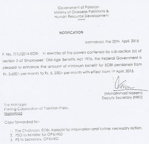 EOBI Pension Increase Notification dated 29-4-2015