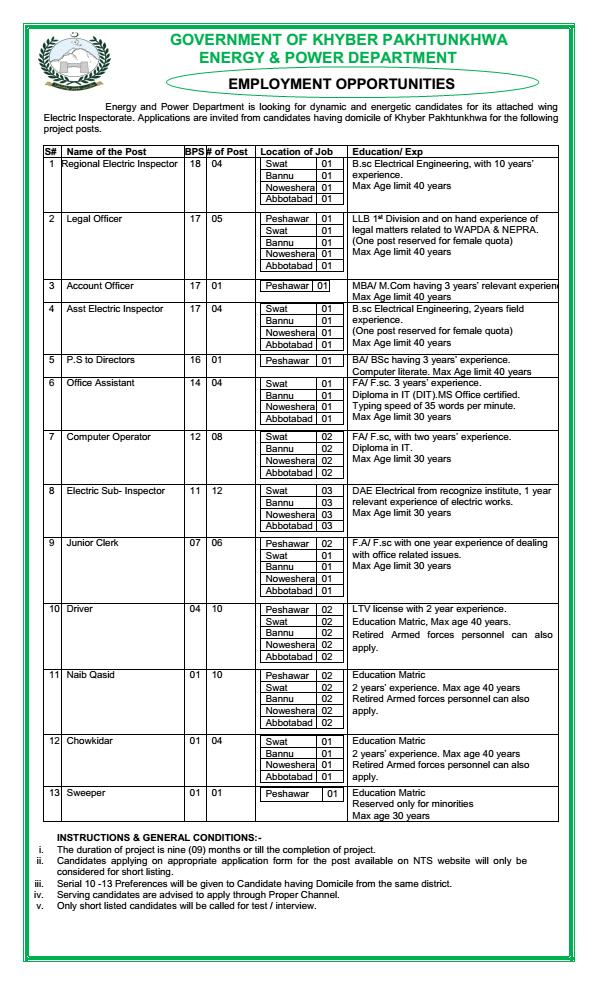 Jobs in Energy and Power Department  KPK through NTS 1