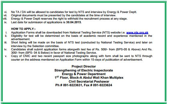 Jobs in Energy and Power Department  KPK through NTS 2