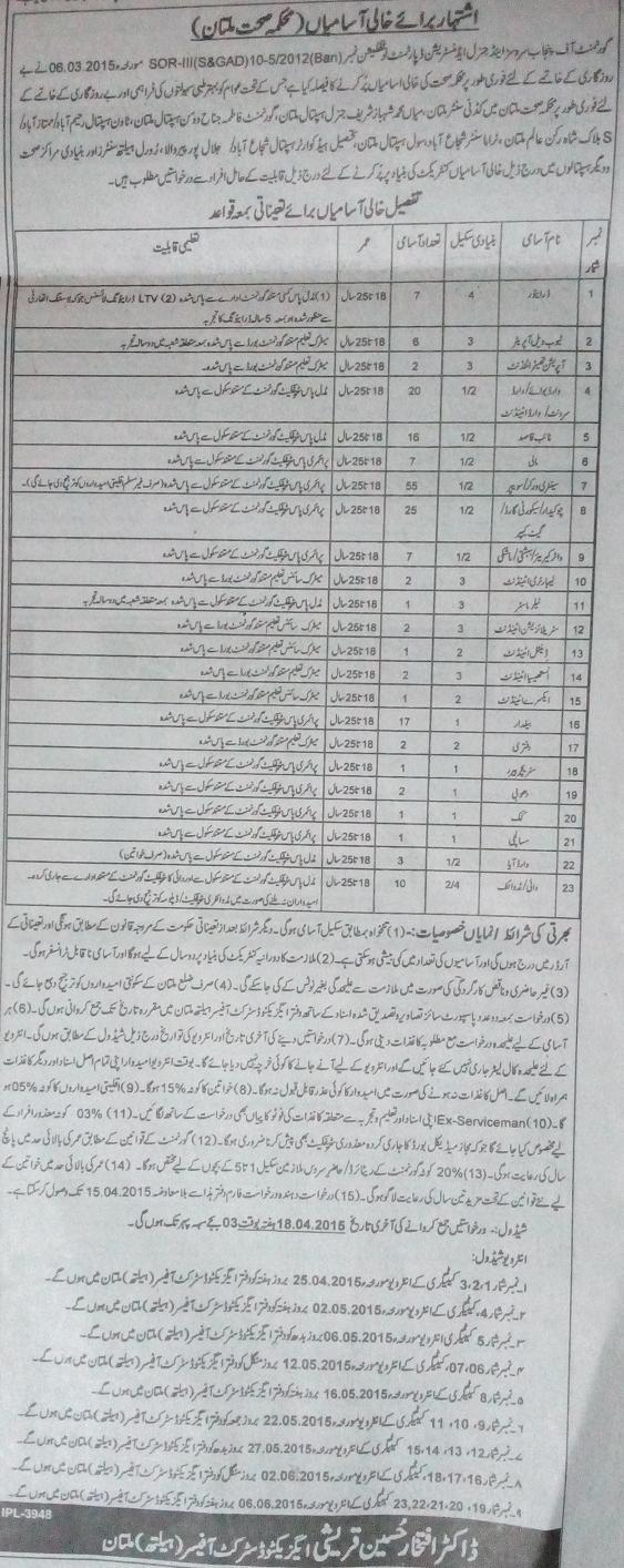 Jobs in Health Department Multan (Kidney Center, Shahbaz Sharif Hospital, Fatima Jinnah Women Hospital and Others)