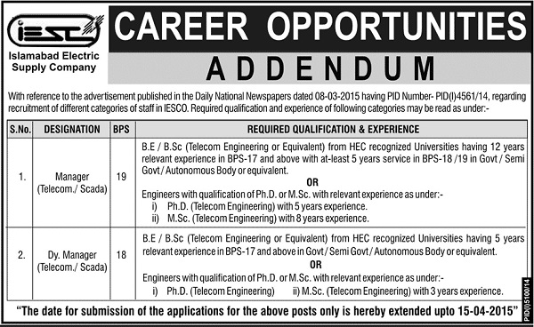 Jobs in IESCO Addendum