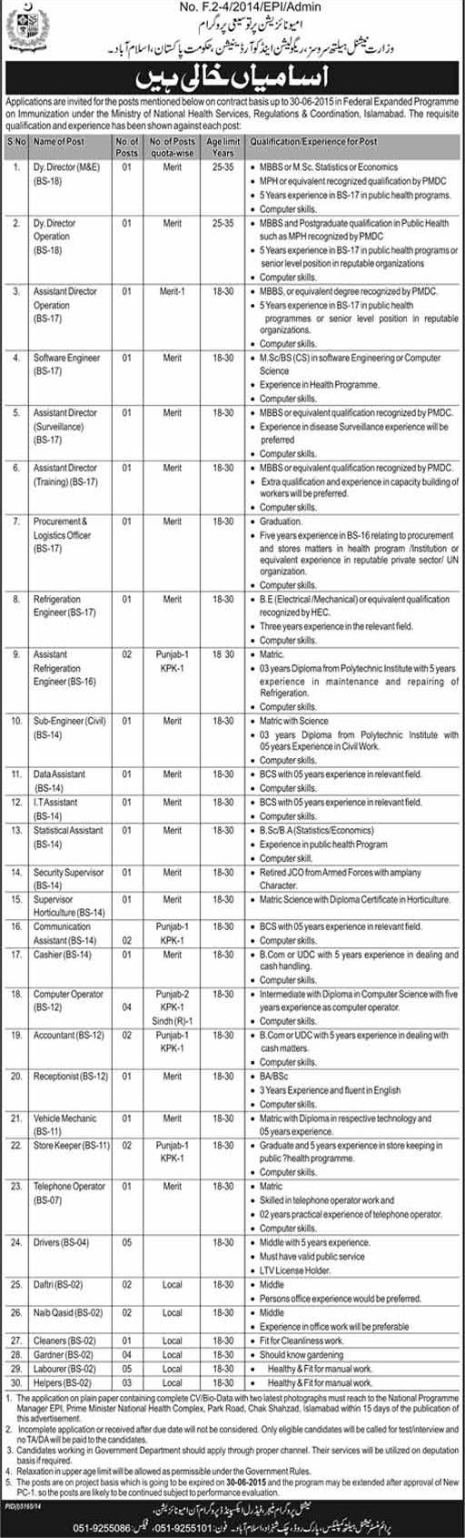 Posts in Ministry of National Health Services, Regulation and Coordination GoP Islamabad