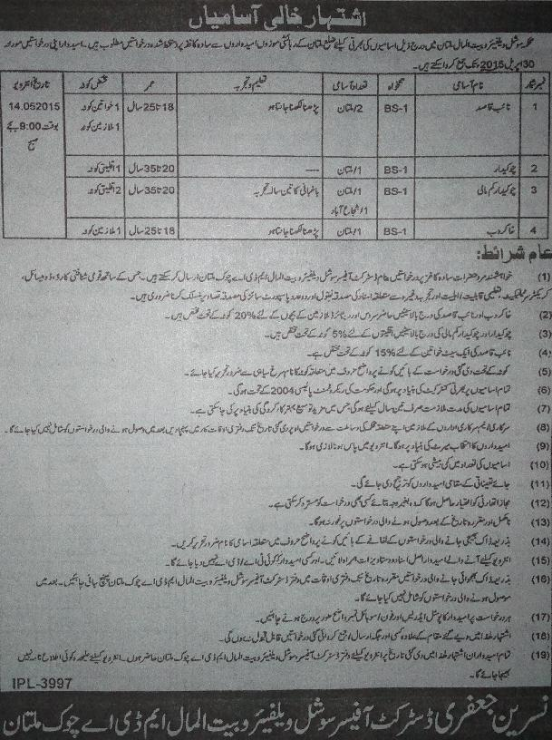 Vacancy in Multan Social Welfare and Bait-ul-Maal Department