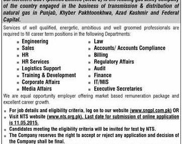 Jobs in SNGPL – Apply Through NTS Online