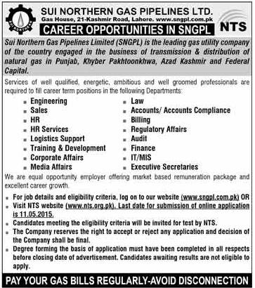 Jobs in SNGPL - Send Application Online