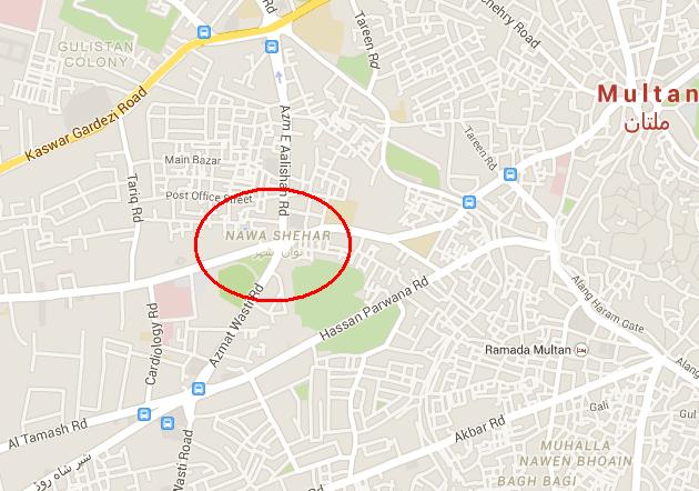 Location Map Chowk Nawan Shehr Multan
