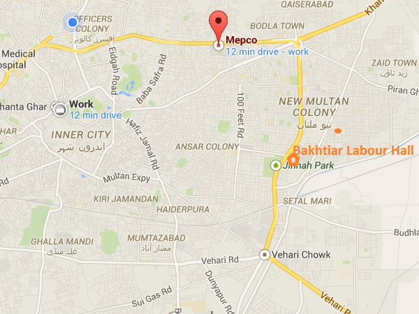 Location Map Bakhtiar Labour Hall New Multan