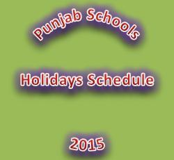 Punjab Schools Holidays Notification 2015