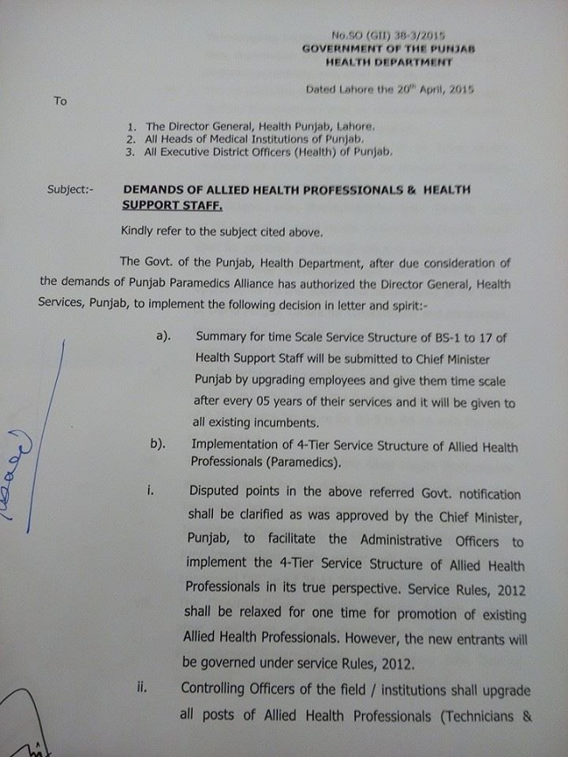 Punjab health Dept notification on demands og Allied Health Professionals and Health Support Staff (page 1)