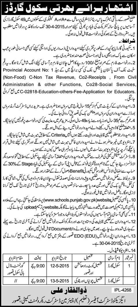 49 School Security Guards Jobs in District Kasur