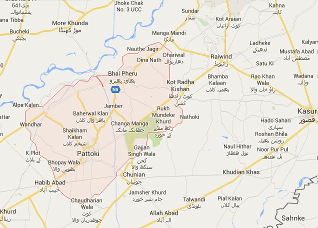 Tehsil Pattoki District Kasur Location Map