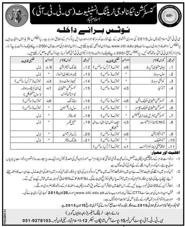 CTTI Islamabad Admission Notice 2015
