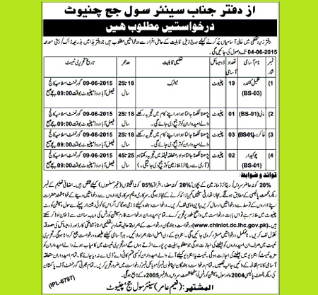 Jobs in Senior Civil Judge Court Chiniot - Last Date 4-6-2015