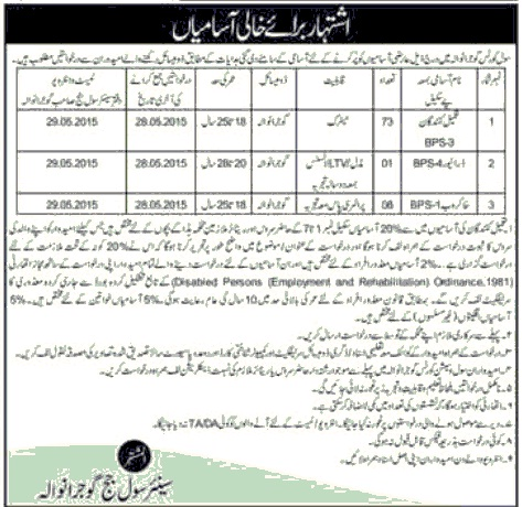 Jobs in Senior Civil Judge Court Gujranwala