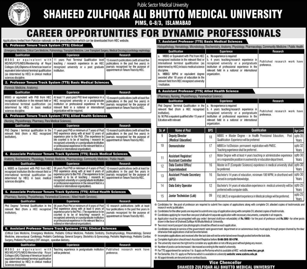 Jobs in Shaheed Zulfiqar Ali Bhutto Medical University Islamabad