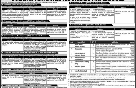 Career Opportunities in Shaheed Zulfiqar Ali Bhuttoo Medical University Islamabad