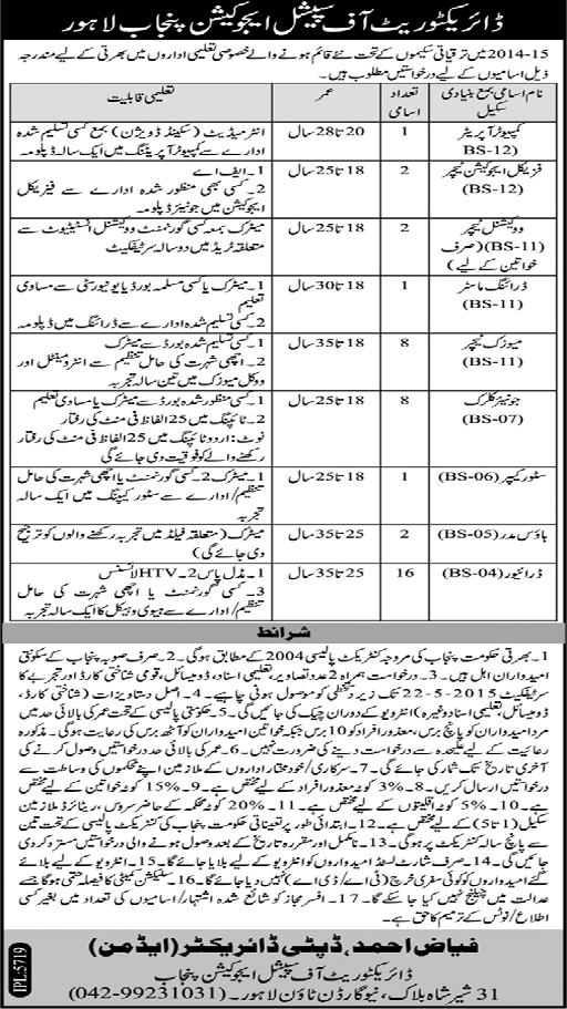 Jobs in Special education Department Punjab