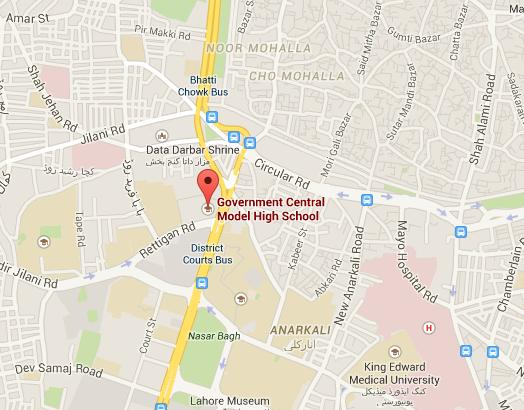 Location Map - Government Central Model School Lower Mall Lahore
