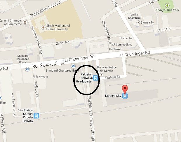 Location Map - Pakistan Railways Headquarters Karachi  I I Chundrigar Road